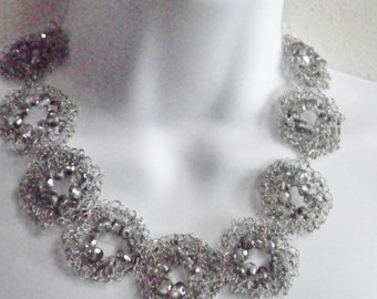 Wire Crocheted Silver Necklace