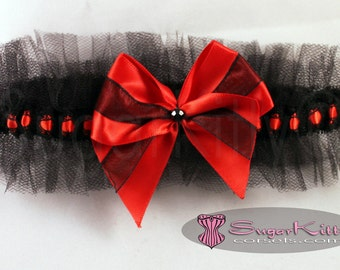 Red & Black Lace and Tulle Ruffled Garter - SugarKitty Couture