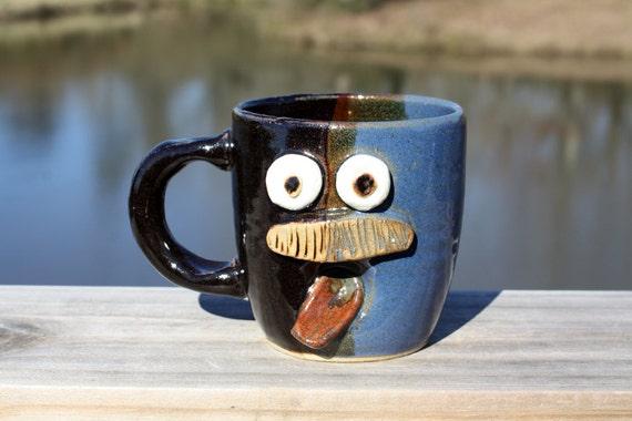 Dad's Mustache Mug. Father's Day. Blue and Black Handmade Stoneware Coffee Mug