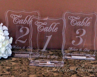 Acrylic Engraved Wedding Reception Table Numbers 1-99