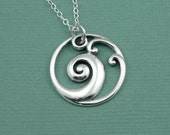 Wave Necklace - sterling silver surfer necklace - wave pendant jewelry - gift