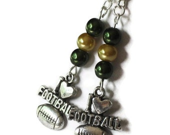 Green Bay Packers Inspired Earrings, Gifts for Women Mom Wife Sister Daughter Grandma Teacher Under 20, Football Jewelry, Stocking Stuffers