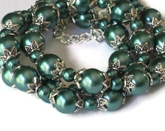 Teal Pearl Necklace, Wedding Jewelry, Bridesmaids Gifts, Gifts for Women Mom Wife Sister Daughter Grandma Under 30, Stocking Stuffers