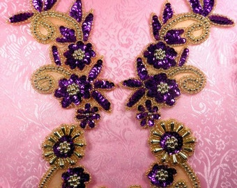 "0183 Appliques Purple and Gold Mirror Pair Sequin Beaded 10"" (0183X-glpr2)"