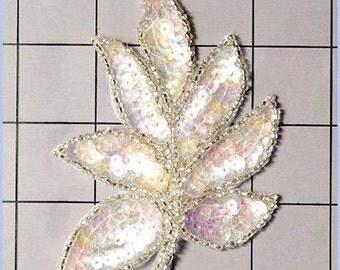 "FS476  Leaf Applique Sequin Pastel Silver Multicolor Beaded Motif 4""   (FS476-pamu)"