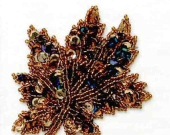 "E397S  Autumn Leaf Beaded Sequin Applique 3"" (E397S)"