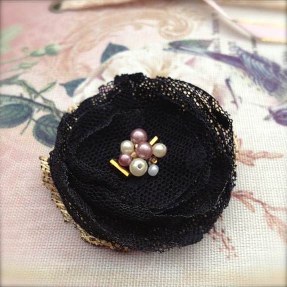 Black Corsage Flower Brooch Small Beaded Fabric Lapel Pin Black Dot Tulle with Gold Coloured Lace and Beads