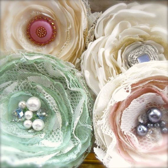 Corsage Brooch Shabby Upcycled Lace and Pastel Mint Green Chiffon - Tattered Rosa