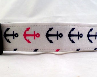 Anchors Away Hot Pink and Navy Blue Anchors on Bright White Dog Collar