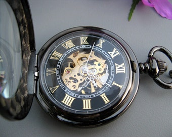 Premium Victorian Black & Gold Mechanical Pocket Watch with Watch Chain - Groomsmen Gift - Gift Sets - Watch - Item MPW295