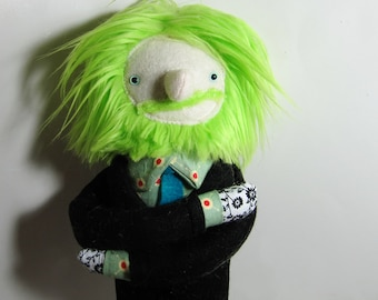 Lime Green Haired Plush Boyfriend Man Doll in Suit