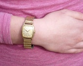 Vintage Gold Tank Style Watch - 1950s Swiss