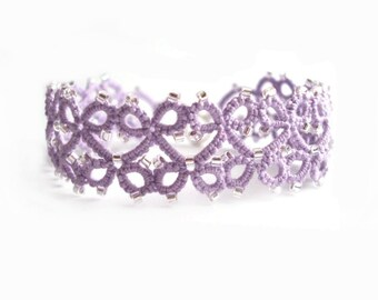 Beaded Lilac Bracelet in Tatting - Lillian - Custom Fit