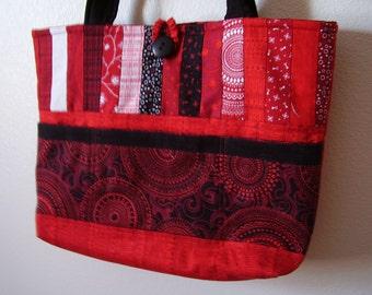 Super Cute Black, Red and White  - Tote  Purse Bag
