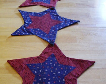 Four Star Table Runner - Holiday-Placemat- Americana-Patroit Flag-Farmhouse - Wallhanging  -Machine Applique