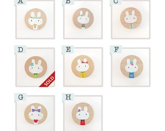 Bunny Rabbit Round Wooden Magnet, hand-painted