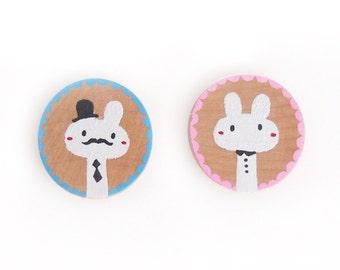 Bunny Rabbit Round Wooden Magnets, black tie style