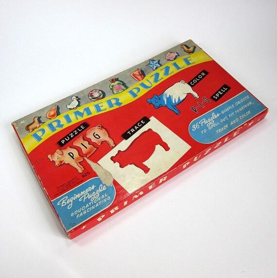 SHOP SALE // Sale // Primer Puzzle 1946 / Vintage Corey Games Puzzle, Stencils, and Teaching Tool in One / Complete Excellent Condition