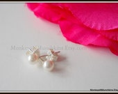 Child Baby First Swarovski White Pearl Earrings Sterling Silver E041