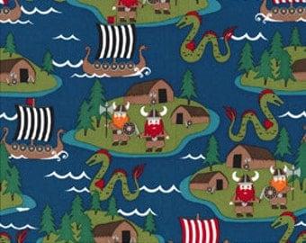 Vikings MM Fabric Viking Ships Sea Monsters Ocean Voyage on Turquoise Blue