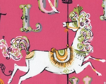 Dear Stella Fabric Vintage White Merry Go Round Carousel Horse on Hot Pink