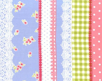 OOP HTF one yard Michael Miller Tea Room Fabric Striped Gingham Lacy Lace Polka Dots Floral Flowers in Stripes on Periwinkle Blue Lavender