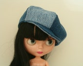 Denim newsboy cap hat for blythe doll