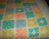 Crochet granny squares Crib Blanket  Baby  shower gift   Spring Blanket Custom orders welcome