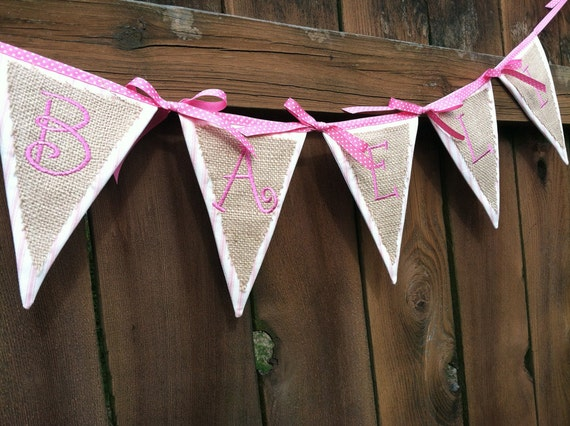 Custom Banner, Bunting - Burlap and Pink Ticking - You choose up to 12 letters