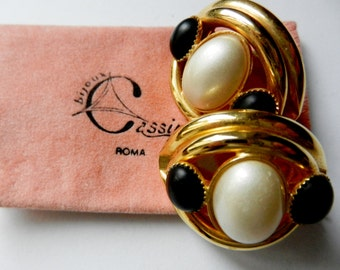 Fascinating large earrings 1960 - pearl cabochon - with original case - Art.406/2-