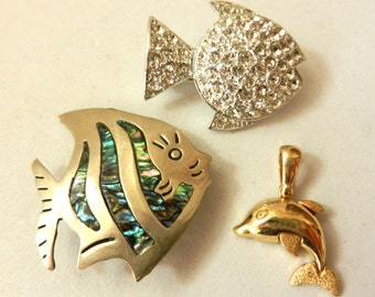 Vintage 1960/1970 - small fish for a delicious collection - crystals, silver and gold -art.415-