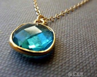Swiss Blue Quartz Bezel Set Necklace - 14K Goldfilled......LIMITED EDITION