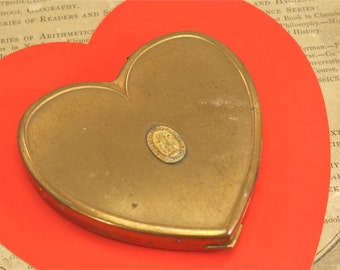 Vintage Brass Heart Compact