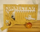 US STATE of CONNECTICUT Scroll Saw Plaque