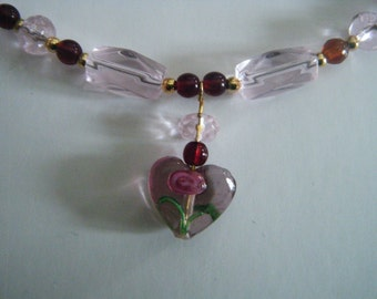 Rose and Ruby Heart Set Necklace Bracelet and Earrings