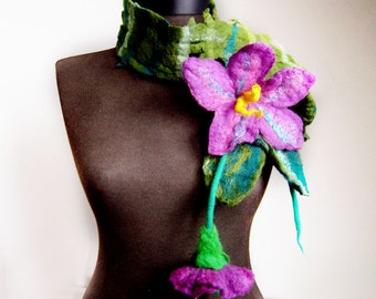 felted artistic eco friendly scarf, felt lariat, eco friendly