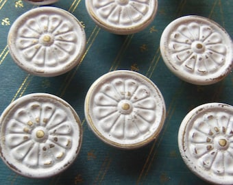 FREE USA SHIPPING Shabby Knobs Drawer Pulls Chippy Upcycled White 1.3 Inch Distressed Set of 6