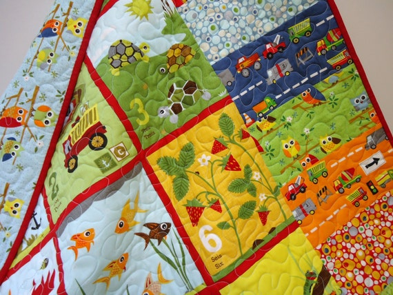 Owl Quilt Baby Quilt, Numbers in Spanish and French, Ten Little Things Baby Boy Quilt, Bilingual Quilt