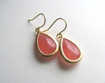 Pink drop earrings on 14k gold fixtures, slim tear drop, framed in 16k matte gold plate