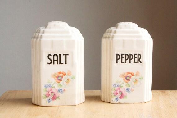 Salt and Pepper Shakers, Art Deco, Floral, Geometric Decor