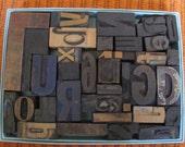 Letterpress boxed alpha-mix vintage wood printers letters
