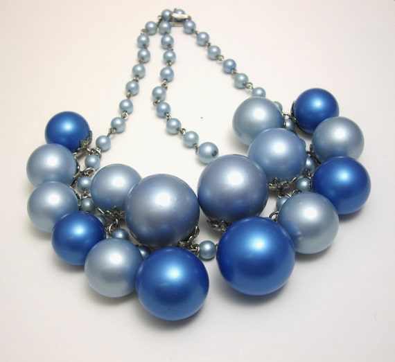 Vintage Blue Bubble Necklace, Cha Cha Bead Necklace, Blue Necklace, Statement Necklace
