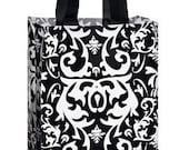 Frosted Plastic Shopping Bag-Small Black Damask