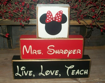 Teacher Appreciation Gift...Minnie Mouse 3 Piece Wood Sign Blocks Personalized Primitive Sign Blocks Distressed Stacking Blocks