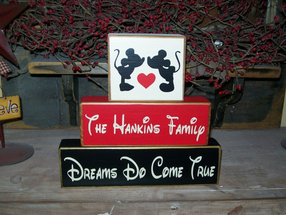 Primitive Personalized Wood Block Sign Minnie & Mickey Mouse Distressed Family Names Established Dates..Let me make a set for you