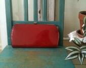 60s RED Patent Leather Clutch Purse Classy Eveningwear