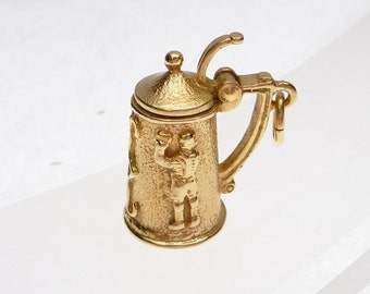 14k Beer Stein Solid Mug with Opening Lid