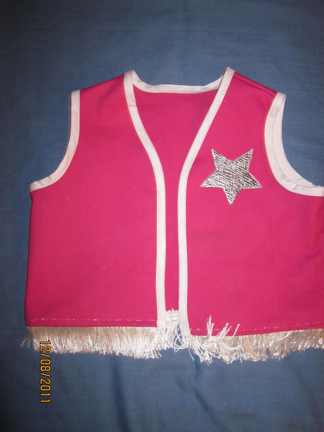 Pink Or Red Cowgirl Vest With Fringe And Sparkle