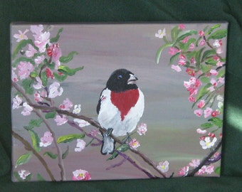 Art, Original Painting, Acrylic, Red Breasted Grosbeak, 9x12inches, Wrapped Canvas, Fine Art