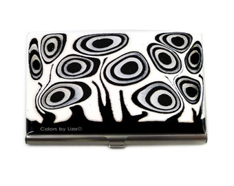 Business Card Case Hand Painted Enamel in Black and White Blossom Inspired Metal Wallet Personalized and Custom Color Options